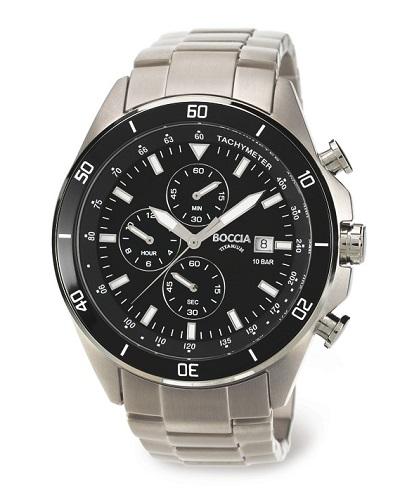Boccia Titanium p�nske hodinky black/silver