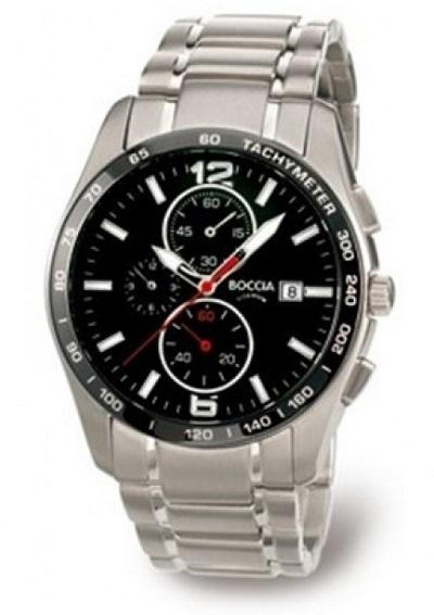 P�nske hodinky BOCCIA TITANIUM black/silver chrono